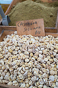 Chestnuts on display for sale on market stall at old street market - Mercado -  in Ortigia, Syracuse, Sicily