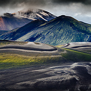 The lower lava drainages in the rhyolite hills of Landmannalaugar National Park in Iceland.