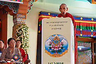 Ganden Tri Rinpoche, Jetsun Lobsang Tenzin speaking at the ceremony to award nuns the first geshe-ma degrees at Drepung Lachi in Mundgod, Karnataka, India on December 22, 2016.
