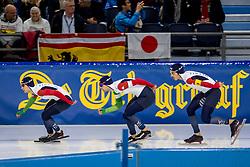 10-11-2017 NED: ISU World Cup, Heerenveen<br /> Team Pursuit men, Italy <br /> A.  Giovannini,  N.  Tumolero,  R.  Bugari,  D.  Ghiotto