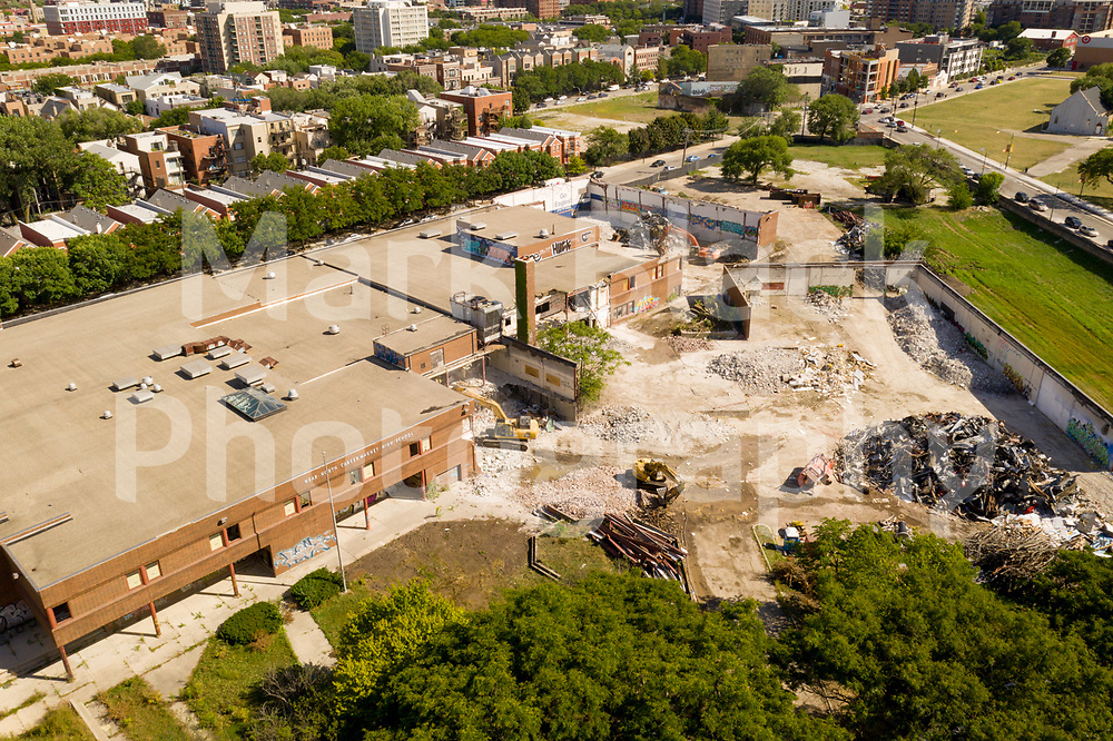 Near North Career Metro High School being torn down and Chicago Skyline in Chicago on Friday, Sept. 4, 2020. Photo by Mark Black