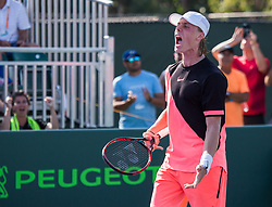 March 26, 2018 - Miami, Florida, United States - Denis Shapovalov, fom Canada, reacting after defeating Sam Querrey from the USA, after his third round match at the Miami Open in Key Biscayne. Shapovalov defeated Murray 6-4, 3-6, 7-5 in Key Biscayne, on March 26, 2018. (Credit Image: © Manuel Mazzanti/NurPhoto via ZUMA Press)