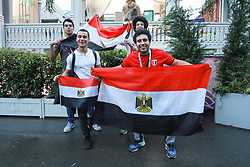 June 12, 2018 - Moscou, Rússia - MOSCOU, MO - 12.06.2018: GENERAL PICTURES MOSCOW 2018 - Egyptian fans in the vicinity of Red Square in Moscow this Tuesday (12) (Credit Image: © Ricardo Moreira/Fotoarena via ZUMA Press)
