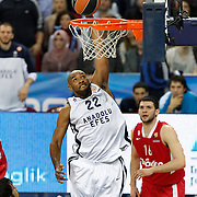 Anadolu Efes's Alfred Jamon Lucas (L) during their Turkish Airlines Euroleague Basketball playoffs Game 4 Anadolu Efes between Olympiacos at Abdi ipekci Arena in Istanbul, Turkey, Friday, April 19, 2013. Photo by Aykut AKICI/TURKPIX