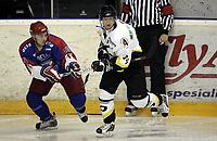 Ishockey<br /> GET-Ligaen<br /> Treningskamp<br /> 17.08.07<br /> Jordal Amfi<br /> Vålerenga VIF - Stavanger Oilers<br /> (R-L) Marius Trygg - Johnny Bruun<br /> Foto - Kasper Wikestad
