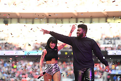 Halsey with Khalid on stage during Capital's Summertime Ball. The world's biggest stars perform live for 80,000 Capital listeners at Wembley Stadium at the UK's biggest summer party. Picture Credit Should Read: Doug Peters/EMPICS
