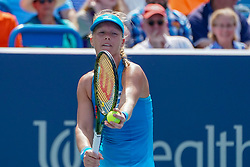 August 19, 2018 - Mason, Ohio, USA - Kiki Bertens (NED) prepares to serve during Sunday's final round of the Western and Southern Open at the Lindner Family Tennis Center, Mason, Oh. (Credit Image: © Scott Stuart via ZUMA Wire)