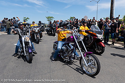 Pulling into the shop parking lot for the Arlen Ness Memorial - Celebration of Life ride from the CrossWinds Church in Livermore to the Arlen Ness Motorcycle store in Dublin, CA, USA. Saturday, April 27, 2019. Photography ©2019 Michael Lichter.
