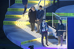 May 12, 2018 - Paris, France - NATHALIE BOY DE LA TOUR (PRESIDENTE LFP) - Nasser Al Khelaifi (PRESIDENT DU PSG - UNAI EMERY (ENTRAINEUR PSG) - TROPHEE - JOIE (Credit Image: © Panoramic via ZUMA Press)