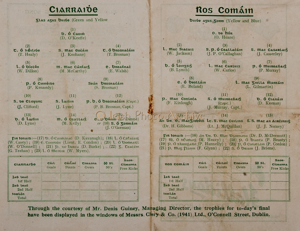All Ireland Senior Football Final, Kerry v Roscommon, 24.09.1944, 09.24.1944, 24th September 1944, Roscommon 1-09 Kerry 2-04, 24091944AISFCF, ..Kerry, D O'Keeffe, T Healy, J Keohane, T Brosnan, W Dillon, M McCarthy, E Walsh, P Kennedy, S Brosnan, J Clifford, J Lyne, P B Brosnan captain, D Lyne, M Kelly, E Dunne of J O'Gorman, subs, D Kavanagh, W Casey, Lieut E Condon, W O'Donnell, D Burke, G Teehan, W Myers, ..Roscommon, O Hoare, W Jackson, J P O'Callaghan, J Casserley, B Lynch, W Carlos, P Murray, E Boland, L Gilmartin, F Kinlough, J Murray Captain, D Keenan, Dr H Gibbons, Lt J McQuillan, JJ Nerney, subs, Dr D McDermott, M Heavy, P Beasty, P Conlon, F Glynn, J Briens, .
