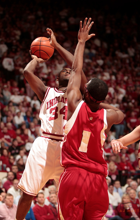 19 February 2009: Indiana guard/forward Malik Story (34) as the Indiana Hoosiers played the Wisconsin Badgers in a college basketball game in Bloomington, Ind.