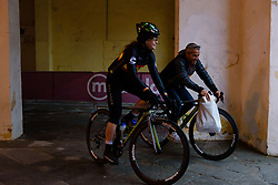 Sheyla Gutierrez Ruiz and Manel Lacambra make their way from sign on at Strade Bianche - Elite Women 2018 - a 136 km road race on March 3, 2018, starting and finishing in Siena, Italy. (Photo by Sean Robinson/Velofocus.com)