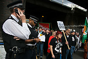 The Battle of Cable Street took place 80 years ago and hundreds marched to comemorate and celebrate the defeat of Mosleys fascists in East London, 9th of October 2016. The march united anti-fascists and ant-racists from various groups including, Jewish groups, trade unions, anti-fascists militants, Labour and the Greens Party and other likeminded socialists.  Party and other likeminded socialists. photo by Kristian Buus/In Pictures via Getty Images