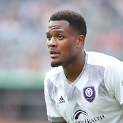 NEW YORK, NEW YORK - April 23:  Cyle Larin #9 of Orlando City SC in action during the New York City FC Vs Orlando City SC regular season MLS game at Yankee Stadium on April 23, 2017 in New York City. (Photo by Tim Clayton/Corbis via Getty Images)