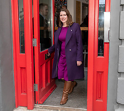 © Licensed to London News Pictures. 28/11/2019. London, UK. Jo Swinson, Leader of the Liberal Democrats, leaves a roundtable meeting on homelessness at Crisis' Skylight Centre practitioners from Crisis and partner organisations, and individuals with lived experience of homelessness. Jo talked about the Liberal Democrats' plan to address the homelessness crisis.<br /> Photo credit: Alex Lentati/LNP