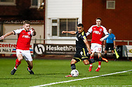 Wimbledon forward Kwesi Appiah (9) scores a goal to make the score 2-3 during the The FA Cup 3rd round match between Fleetwood Town and AFC Wimbledon at the Highbury Stadium, Fleetwood, England on 5 January 2019.