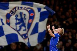 Andre Schurrle of Chelsea celebrates scoring a goal to make it 2-0 - Photo mandatory by-line: Rogan Thomson/JMP - 07966 386802 - 10/12/2014 - SPORT - FOOTBALL - London, England - Stamford Bridge - Sporting Clube de Portugal - UEFA Champions League Group G.