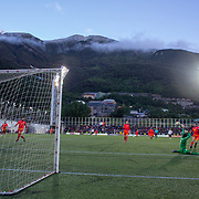 ANDORRA LA VELLA, ANDORRA. June 1.  Kylian Mbappe #10 of France scores his sides first goal beating goalkeeper  Josep Gomes #1 of Andorra with a scenic mountain backdrop during the Andorra V France 2020 European Championship Qualifying, Group H match at the Estadi Nacional d'Andorra on June 11th 2019 in Andorra (Photo by Tim Clayton/Corbis via Getty Images)