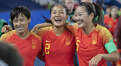 HAN Peng, LIU Shanshan, WU Haiyan celebrating the victory after the match of 2019 FIFA Women's World Cup France group B match between SOUTH AFRICA and CHINA, at Parc Des Princes stadium on June 13, 2019 in Paris, France. Photo by Loic BARATOUX/ABACAPRESS.COM