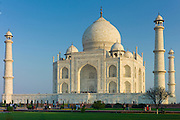 The Taj Mahal mausoleum southern view at dawn, Uttar Pradesh, India