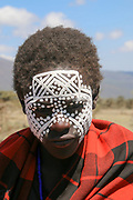 Maasai Boy, With painted face, East Africa, Tanzania, Ngorongoro Conservation Area