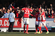 Charlton Athletic defender Mouhamadou-Naby (Naby) Sarr (23) celebrating after scoring goal during the EFL Sky Bet League 1 match between AFC Wimbledon and Charlton Athletic at the Cherry Red Records Stadium, Kingston, England on 23 February 2019.