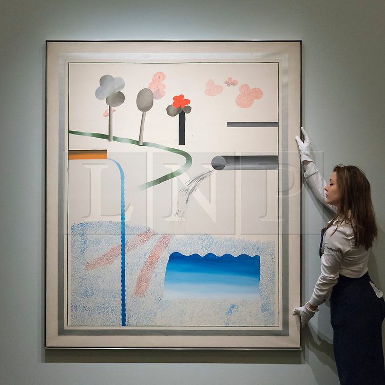 © Licensed to London News Pictures. 22/02/2018. LONDON, UK. A technician presents ''Different Kinds Of Water Pouring Into A Swimming Pool, Santa Monica'' by David Hockney, (Est. £6,000,000 - 8,000,000) at the preview of Sotheby's upcoming Impressionist, Modern & Surrealist Art auctions taking place at Sotheby's, New Bond Street, on 28 February. Photo credit: Stephen Chung/LNP