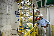 Mcc0084404 . Daily Telegraph<br /> <br /> Aeolus Satellite Launch<br /> <br /> Stefano Bianchi,Vega Programme Manager stands inside the Vega mobile gantry the day before takeoff .<br /> The Vega rocket fuelled and ready to launch with it's Aeolus Satellite payload at the European Space Centre in French Guiana  . <br /> The Aeolus Satellite, designed and built by Airbus contains pioneering technology that will monitor winds around the globe that will change weather forecasting forever .<br /> <br /> Kourou, French Guiana 21 August 2018