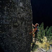 """ROCK CLIMBING. Alex Lowe (MR) on """"Cardiac Arete"""", (5.12), Hyalite Cyn."""