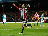 Brentford FC's Jota celebrates scoring during the Sky Bet Championship match between Brentford and Blackburn Rovers at Griffin Park, London 13/12/2014<br /> Picture by Mark D Fuller