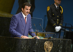 Qatar's Emir, Sheikh Tamim bin Hamad al-Thani addresses the 71st session of the United Nations General Assembly at the UN headquarters in New York City, NY, USA, on September 20, 2016. Photo by Dennis van Tine/ABACAPRESS.COM