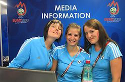 Girls at media information desk in Wien press center at UEFA EURO 2008 at Ernst-Happel Stadium, on June 8,2008, in Vienna, Austria.  (Photo by Vid Ponikvar / Sportal Images)