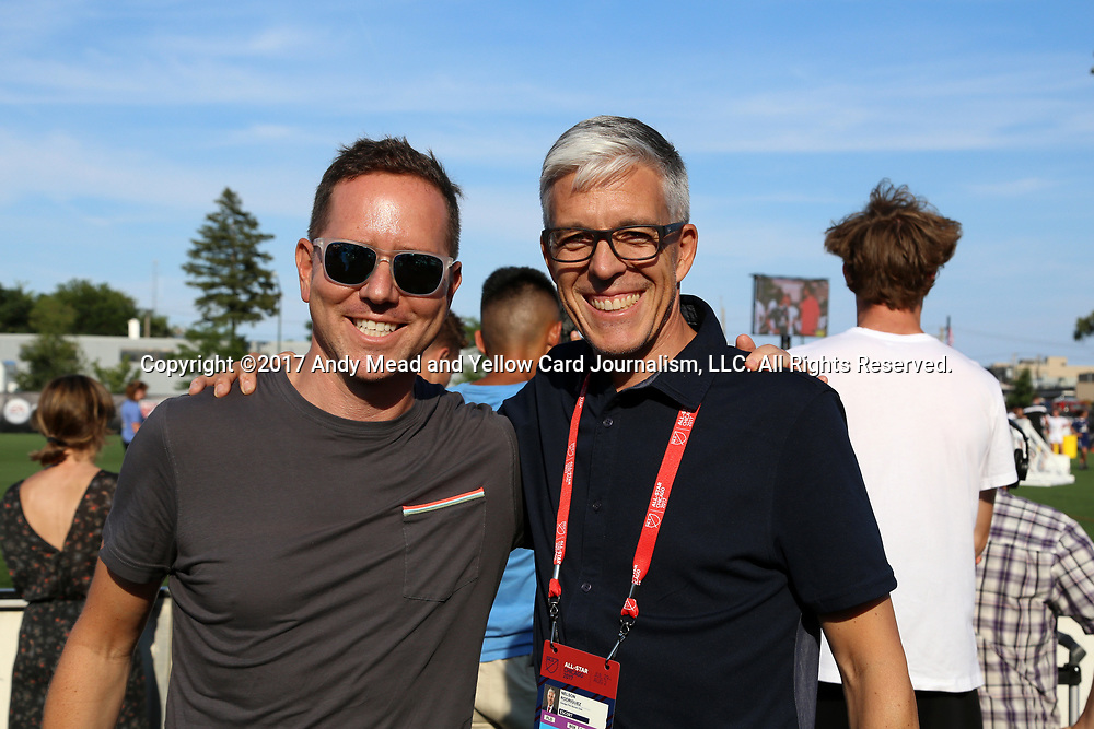 CHICAGO, IL - JULY 30: Chicago Fire owner Andrew Hauptman and general manager Nelson Rodriguez on July 30, 2017, at The PrivateBank Fire Pitch in Chicago, IL in the 2017 MLS Skills Challenge presented by FIFA 18.