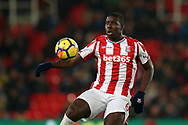Kurt Zouma of Stoke City in action. Premier league match, Stoke City v Manchester City at the Bet365 Stadium in Stoke on Trent, Staffs on Monday 12th March 2018.<br /> pic by Andrew Orchard, Andrew Orchard sports photography.