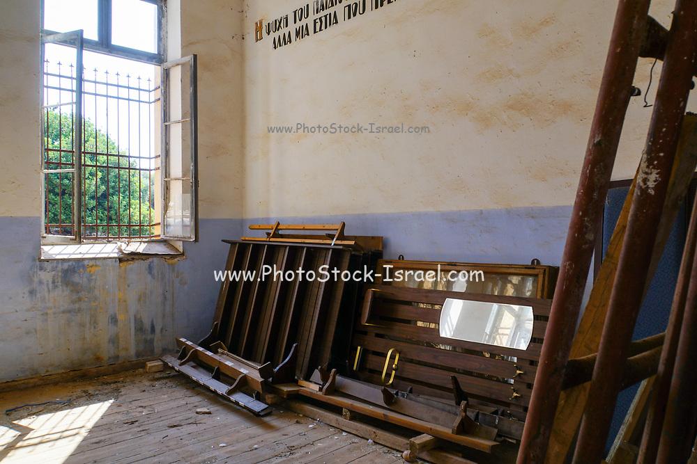 Deserted and abandoned Chapel or classroom at Agia Triada Monastery or the Monastery of Agia Triada Tsangarolon is a Greek Orthodox monastery in the Akrotiri peninsula in the Chania regional unit, Crete, Greece.