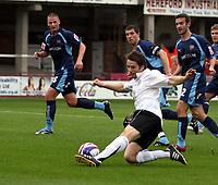 Photo: Mark Stephenson.<br /> Hereford United v Brentford. Coca Cola League 2. 06/10/2007.Hereford's Ben Smith tries a shot
