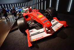 """© Licensed to London News Pictures. 14/11/2017. London, UK.  Michael Schumacher's Grand Prix winning Ferrari, F1, 2000.  Preview of """"Ferrari: Under the Skin"""", an exhibition at the Design Museum to mark the 70th anniversary of Ferrari.  Over GBP140m worth of Ferraris are on display from private collections.  The exhibition runs 15 November to 15 April 2018.  Photo credit: Stephen Chung/LNP"""