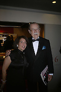 MR. AND MRS. ALAN WHICKER,  Grosvenor House Art & Antiques Fair charity gala evening in aid of Coram Foundation. Grosvenor House. Park Lane. London. 14 June 2007.  -DO NOT ARCHIVE-© Copyright Photograph by Dafydd Jones. 248 Clapham Rd. London SW9 0PZ. Tel 0207 820 0771. www.dafjones.com.