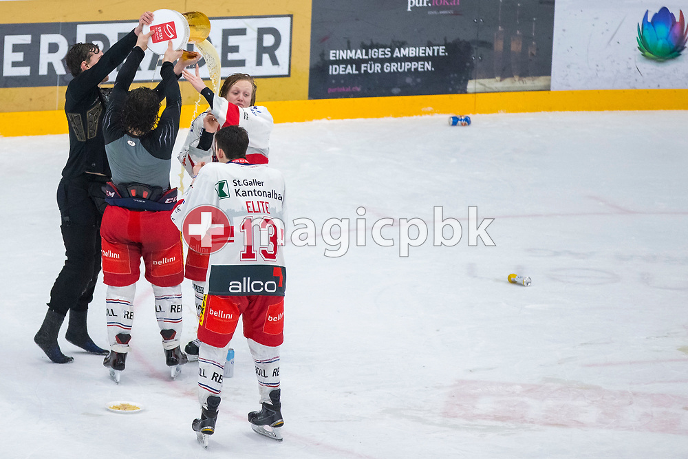 (L-R) Rapperswil-Jona Lakers players Beat Trudel, Janis Egger, Luca Schommer and Jonas Graetzer (#13) celebrate with the Swiss Champion trophy after winning ice hockey game 4 of the Elite B Playoff Final between EHC Chur Capricorns and Rapperswil-Jona Lakers in Chur, Switzerland, Friday, March 16, 2018. (Photo by Patrick B. Kraemer / MAGICPBK)
