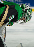 KELOWNA, BC - JANUARY 19:  Ian Scott #33 of the Prince Albert Raiders stands on the ice against the Kelowna Rockets at Prospera Place on January 19, 2019 in Kelowna, Canada. (Photo by Marissa Baecker/Getty Images)***Local Caption***