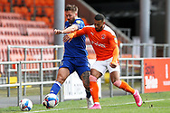 Ipswich Town defender Luke Chambers (4) and Blackpool forward Keshi Anderson (8) during the EFL Sky Bet League 1 match between Blackpool and Ipswich Town at Bloomfield Road, Blackpool, England on 10 October 2020.