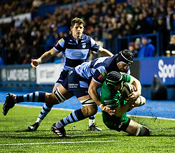 Eoin McKeon of Connacht is tackled by George Earle of Cardiff Blues <br /> <br /> Photographer Simon King/Replay Images<br /> <br /> Guinness PRO14 Round 14 - Cardiff Blues v Connacht - Saturday 26th January 2019 - Cardiff Arms Park - Cardiff<br /> <br /> World Copyright © Replay Images . All rights reserved. info@replayimages.co.uk - http://replayimages.co.uk