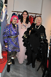 Left to right, ZANDRA RHODES, CARMEN HAID and LADY COBURN at a dinner hosted by Carmen Haid at Atelier Mayer, 47 Kendal Street, London W2 on 21st February 2012.