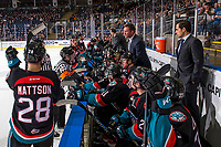KELOWNA, BC - DECEMBER 01: Kelowna Rockets' head coach Adam Foote stands on the bench and speaks to the referee during a time out against the Saskatoon Blades  at Prospera Place on December 1, 2018 in Kelowna, Canada. (Photo by Marissa Baecker/Getty Images)