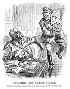 "Churchill S'en Va-t-en Guerre. Winston (through force of nautical habit, to Sir John French). ""Come aboard, sir!"""