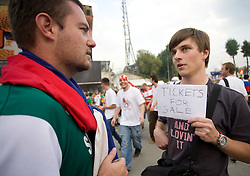 Lithuanian fans selling tickets to Slovenian fans for next days of the EuroBasket 2009 after the match Lithuania vs Serbia when Lithuania didn't qualified for the quarterfinals, on September 16, 2009 in Arena Lodz, Hala Sportowa, Lodz, Poland.  (Photo by Vid Ponikvar / Sportida)