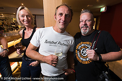 Custom Chrome Europe evening party in the old town after a long day at the Intermot Motorcycle Trade Fair. Cologne, Germany. Friday October 7, 2016. Photography ©2016 Michael Lichter.