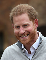 The Duke of Sussex speaking at Windsor Castle in Berkshire after the Duchess of Sussex gave birth to a baby boy weighing 7lbs 3oz.