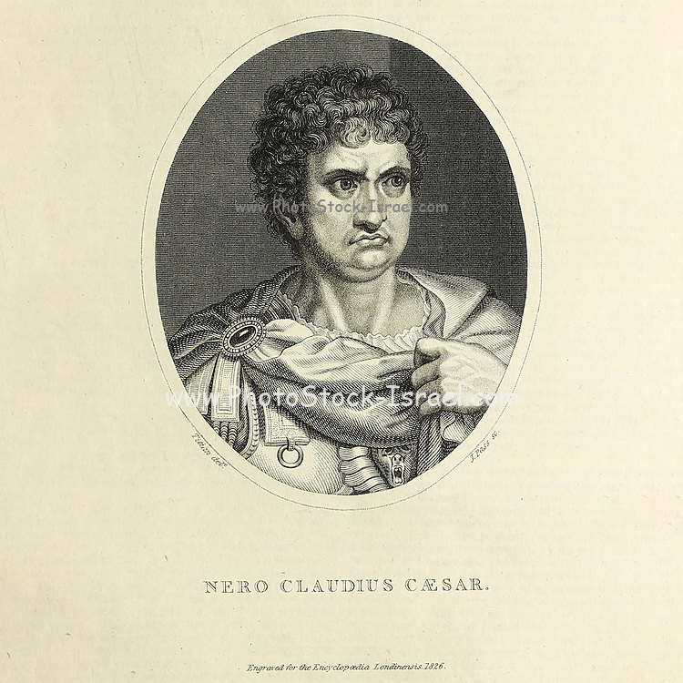Claudius Caesar Augustus Germanicus; 15 December 37 – 9 June 68 AD) was the fifth Roman emperor, ruling from 54 to 68. His infamous reign is usually associated with tyranny, extravagance and debauchery. Nero, originally named Lucius Domitius Ahenobarbus, belonged to the Julio-Claudian dynasty, and was adopted as heir by the emperor Claudius, his great-uncle and stepfather. Nero succeeded Claudius while not yet aged 17, and his mother, Agrippina, tried to dominate his early life and decisions, but Nero cast her off and had her killed five years into his reign. Copperplate engraving From the Encyclopaedia Londinensis or, Universal dictionary of arts, sciences, and literature; Volume XXII;  Edited by Wilkes, John. Published in London in 1827