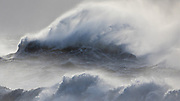 Massive waves on a stormy day at Reynisfjara Beach in south Iceland